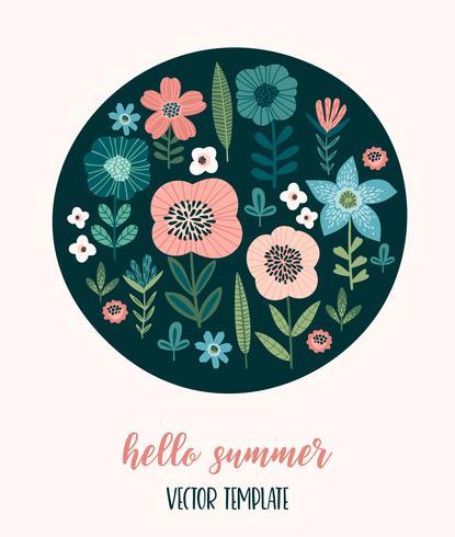 Vector Blumenmuster. Vorlage für Karten, Poster, Flyer, T-Shirt, Wohnkultur und andere Zwecke.