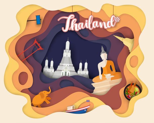 Papierschnittdesign der touristischen Reise Thailand vektor