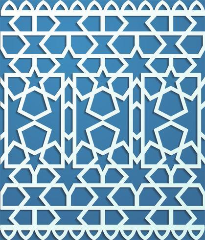 Blaues nahtloses Muster im arabischen Arthintergrund vektor