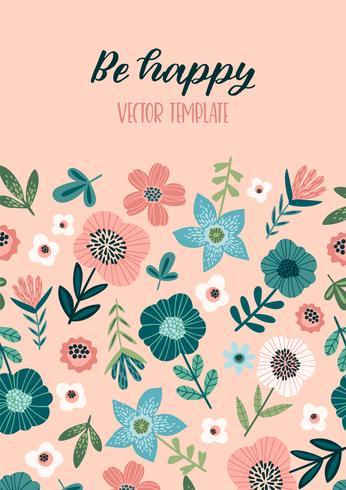 Vektor blommönster med söta blommor. Mall för kort, affisch, flygblad, heminredning