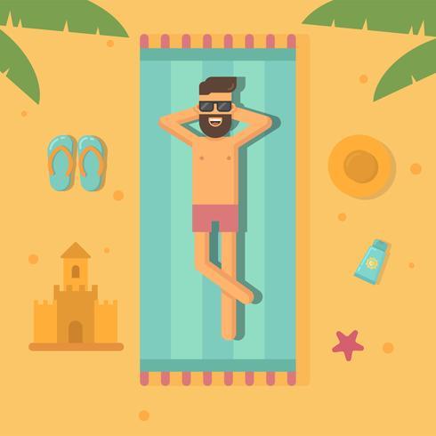 Mann, der an der flachen Illustration des Strandes ein Sonnenbad nimmt vektor