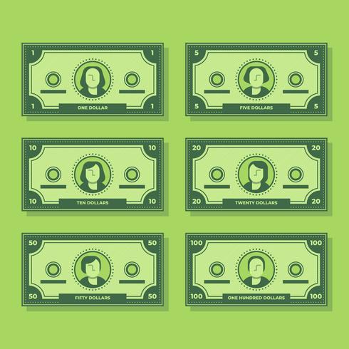 Tecknad sedel Dollar Kontant Flat Icon Set Illustration vektor