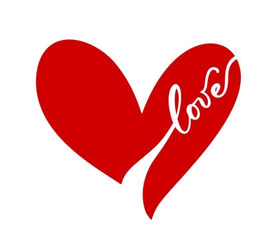 Skandinavisches Herz der Vektorillustration in der Art des Minimalismus. Romantisches Kalligraphievektor-Liebeszeichen. Hand gezeichnete Ikone für Valentinstag. Konzeptsymbol für Grußkarte, Plakathochzeit vektor