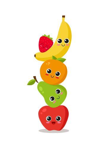 Söta frukter staplade vektor