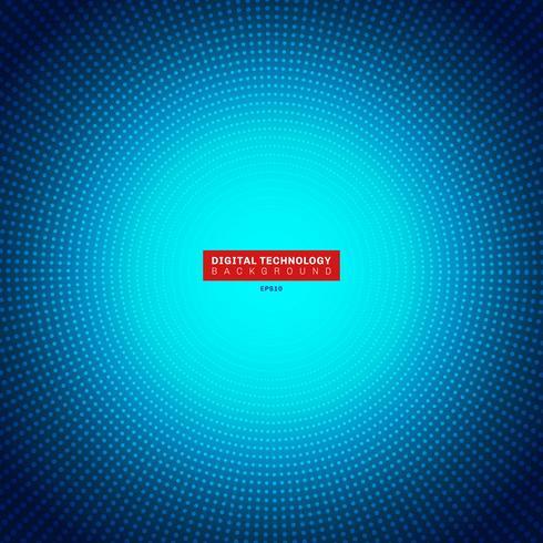 Teknologi digital koncept futuristisk blå neon radiell ljus burst effekt på mörk bakgrund. Dots mönsterelement cirklar halvton stil. vektor