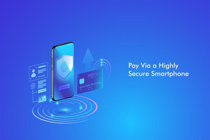 Sicherer Online-Zahlungsverkehr mit dem Smartphone. Internet-Banking per Kreditkarte auf dem Handy. Schutz einkaufen drahtlose Bezahlung über Smartphone. vektor