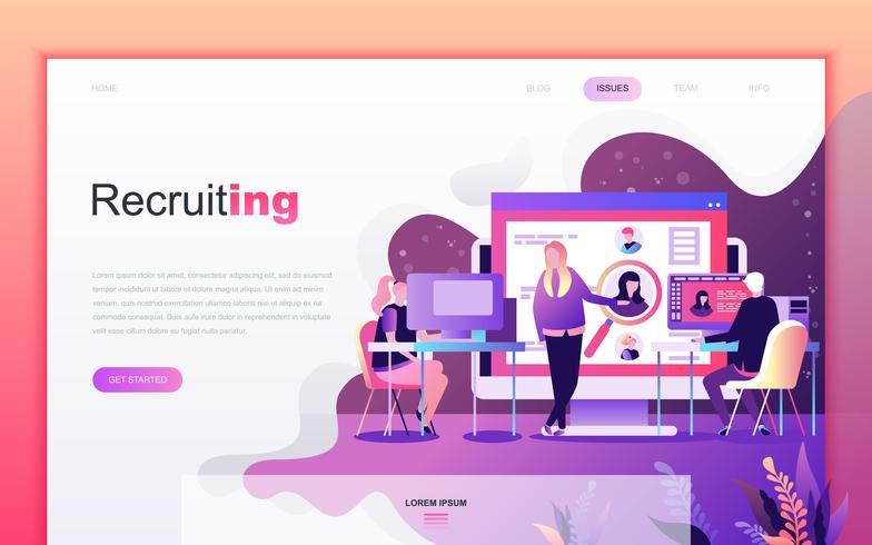 Modernt platt tecknade designkoncept för rekrytering av företag för webbutveckling och mobilapputveckling. Målsida mall. Inredda personer karaktär för webbsida eller hemsida. Vektor illustration.