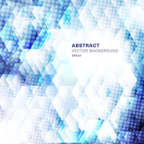 Abstrakte weiße und blaue geometrische Hexagonformen, die Hintergrund mit Punkthalbton überschneiden. Technologiekonzept. vektor