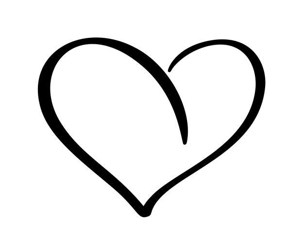 Romantisches Kalligraphievektor Herzliebeszeichen. Hand gezeichnete Ikone des Valentinstags. Concepn Symbol für T-Shirt, Grußkarte, Plakathochzeit. Flache Elementillustration des Designs vektor