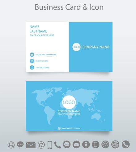 Moderne kreative Visitenkarteschablone und -ikone. Entwerfen Sie mit World Map Business. weißer und blauer Hintergrund. Vektor. vektor