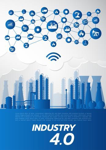 industri 4.0-koncept, smart fabrikslösning, tillverkningsteknik vektor