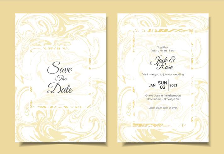 Modern Bröllopsinbjudan Set Vätska Marmor Texturer Lyxfärger. Trendig bakgrund Flerfunktionskort mall som affisch, omslag, bok, etc. vektor