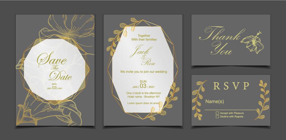 Lycklig bröllopsinbjudan kortmall. Mörk bakgrund och geometrisk guldram med blommig dekoration Hibiskusblomma och vilda löv vektor