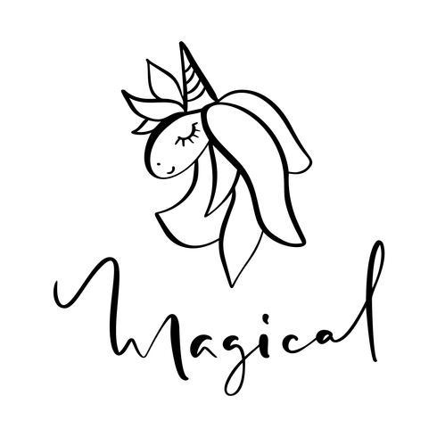 Niedliche Hand gezeichnetes Gekritzel-Einhorngesicht mit dem Kalligraphietext magisch. Vektorzeichentrickfilm-figur-Abbildung. Design für Kinderkarte, T-Shirt. Mädchen, Kindermagiekonzept. Isoliert auf weißem hintergrund vektor