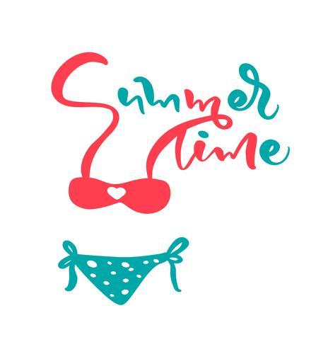 Kalligrafisk bokstäver vektor text Sommartid titel. Vacker kvinna baddräkt. Isolerad tecknad illustration för din design