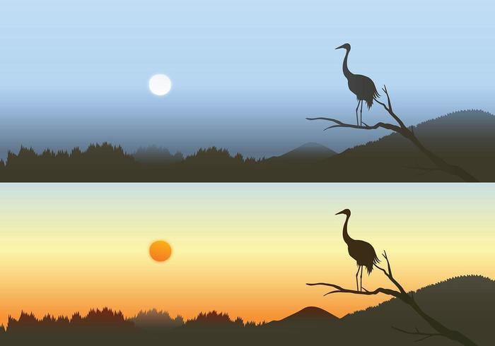 Heron Sonnenuntergang Vektor Wallpaper Pack