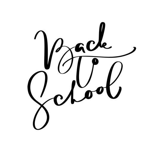 Zurück zu Schulhandbürstenkalligraphie-Beschriftungstext. Bildungsinspirationsphrase für Studie. Gezeichnete Design-Vektor-Illustration vektor