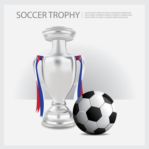 Fußball-Trophäen-Schalen und Preis-Vektor-Illustration vektor