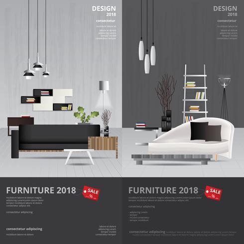 2 vertikale Fahnen-Möbel-Verkaufs-Design-Schablonen-Vektor-Illustration vektor