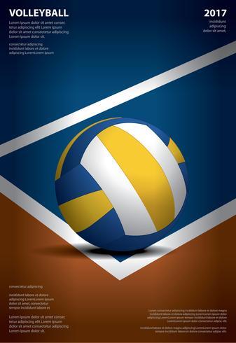 Volleyball-Turnier-Plakat-Schablonen-Design-Vektor-Illustration vektor