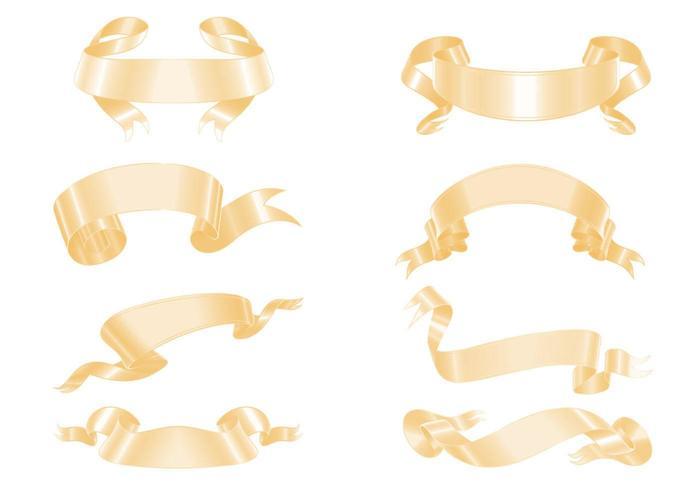 guld banner band vektor pack