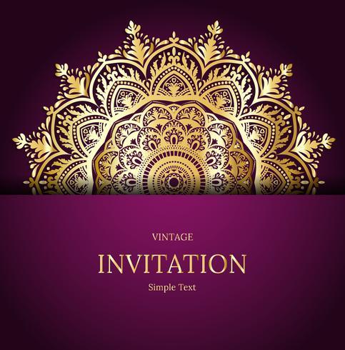 Elegant spara datumkortdesign. Tappning blommig inbjudan kort mall. Lyx virvla runt mandala hälsningskort, guld, lila vektor