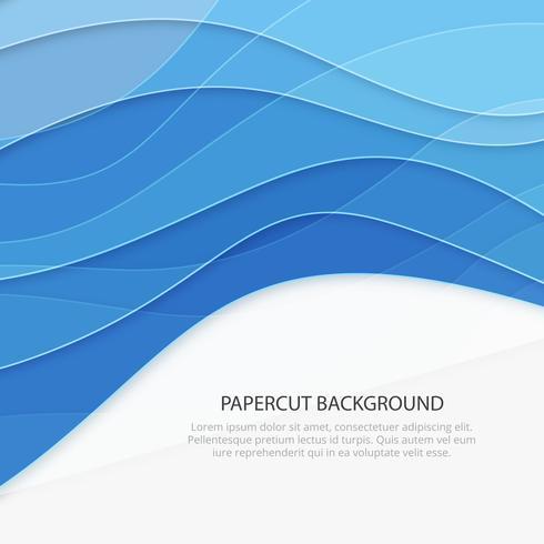 Blauer Papierschnitthintergrund. Business-Hintergrund vektor