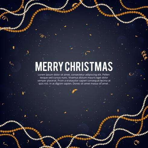 Vector Illustration des Goldes der frohen Weihnachten und des schwarzen Farbplatzes für Text, Goldweihnachtsballgirlande, goldene Funkelnflittergirlande, perlige Ballgirlanden und Konfettis
