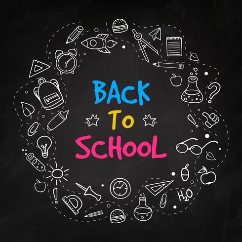 Tillbaka till skolan krita doodle bakgrund på svart tavla vektor