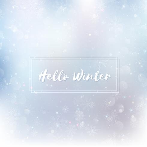 Hallo Winter Hintergrund jedoch unscharf. Weihnachtsschneeflocken verwischten Hintergrund vektor