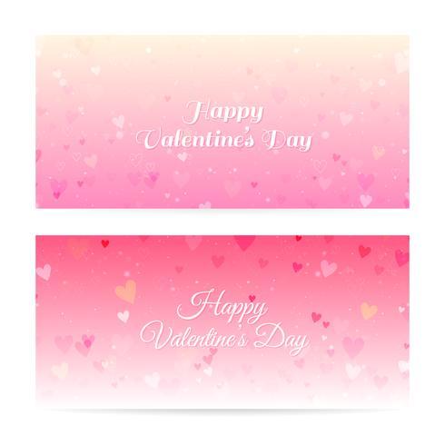 Valentinstag verschwommen Banner mit Herzen und Bokeh vektor