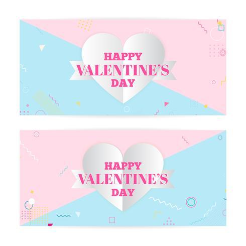 Alla hjärtans dag banderoller, papper konst moln, hjärtan. Papperskonst och hantverksstil. Modern konst, hipster vektor