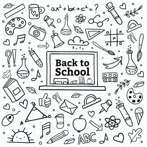 Handabgehobener betrag zurück zu Schulhintergrund vektor