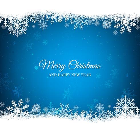 Blauer Weihnachtshintergrund mit weißer Schneeflockengrenze vektor