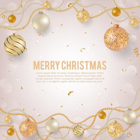 Jul bakgrund med ljusa julgransar. Julaftonbollar med gyllene pärlande kransar, ros, guld och pärlbollar. vektor