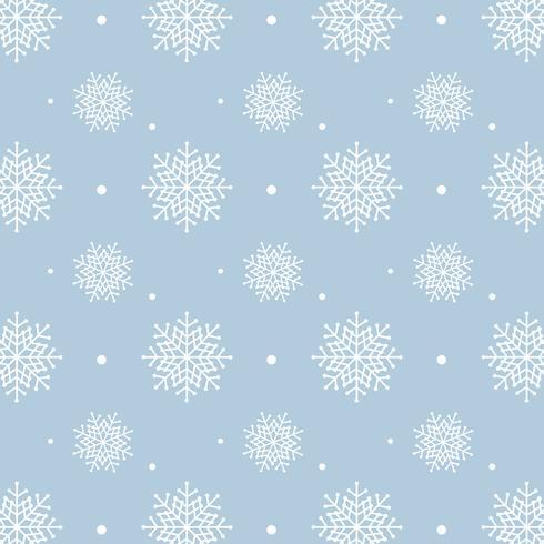 Blaues Schneeflockemuster. Weißes Schneeflockenmuster auf blauem Hintergrund vektor