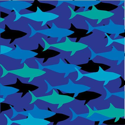 überlagertes Haifischmuster auf blauem Hintergrund vektor