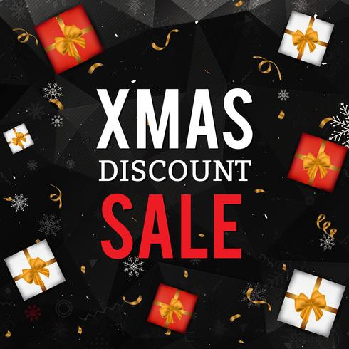 Julförsäljningsbakgrund med presentkartonger, snöflingor och konfetti på svart geometrisk bakgrund. Julkort. vektor