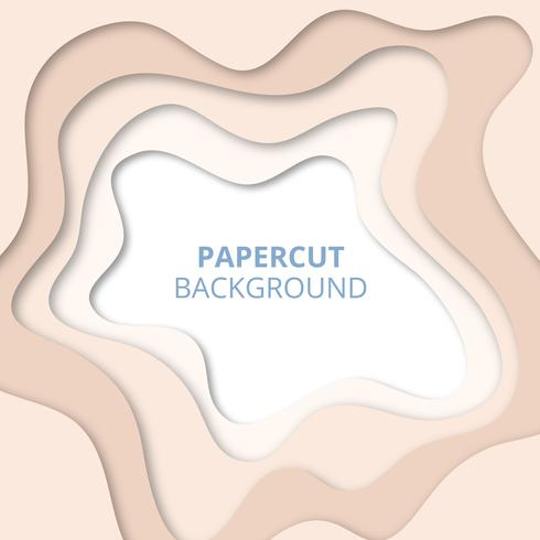 3D abstrakt bakgrund med lätta pappersskuren former. Papercut bakgrund vektor