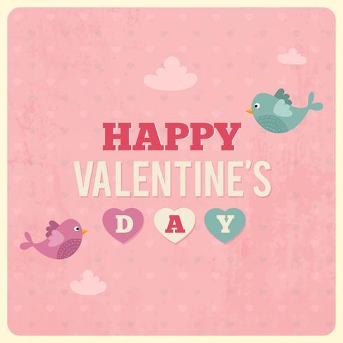 Alla hjärtans dag retro illustration med kärlek fåglar och moln. Rosa vintage valentin dag kort vektor