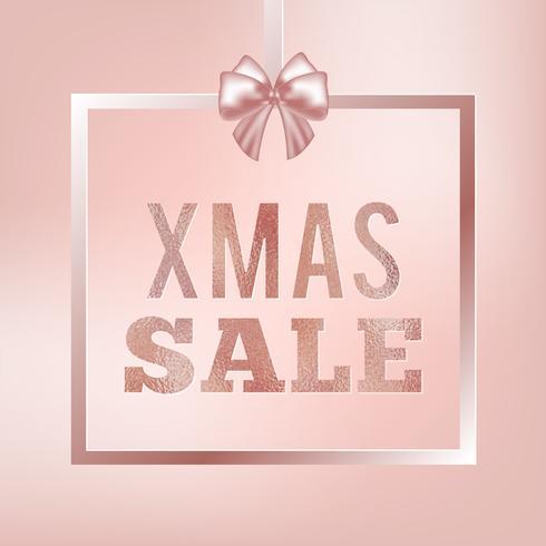 Rose Glitter Christmas Sale Banner. Weihnachtsverkauf Zeichen. Rosenquadrat mit seidiger Schleife. vektor
