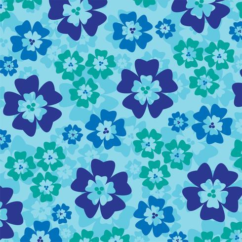 Blaues tropisches Blumenmuster vektor