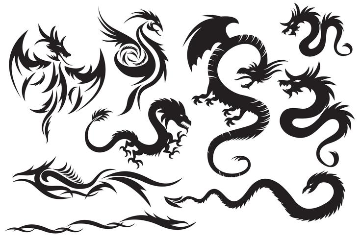 Tribal drakar. Set av de kinesiska draken, tribal tatuering vektor