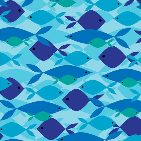 Överlappande fiskmönster vektor