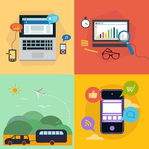 Set av ikoner med platt designkoncept för resor, affärer, webb och mobila tjänster och appar. Ikoner för utbildning, on-line utbildning, lärande, resor. vektor