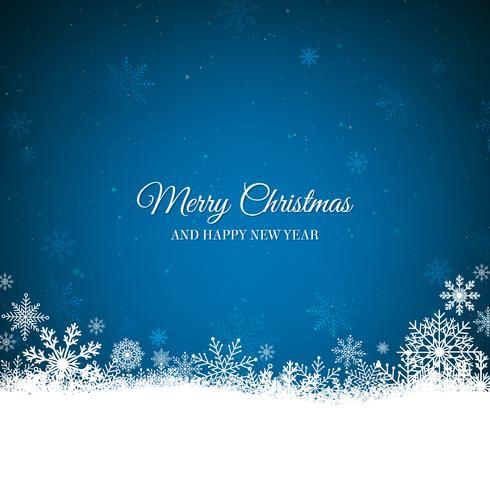 Blå jul bakgrund med vit snöflingor gräns vektor