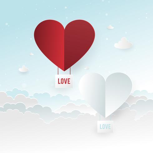 Illustration av Kärlek och Alla hjärtans dag, Papper varmluftsballong hjärtform som flyter på himlen, Papperskonst och hantverksstil. vektor