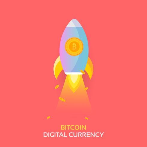 Bitcoin-Raketenschiff startet. Kryptowährung Blockchain-Krypto-Vektor vektor