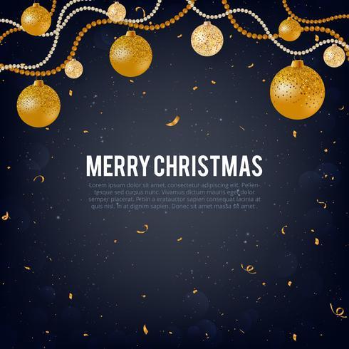 Vector Illustration des Goldes der frohen Weihnachten und des schwarzen Farbplatzes für Text, Goldweihnachtsbälle, goldenen Funkelnflitter, perlige Ballgirlanden und Konfettis