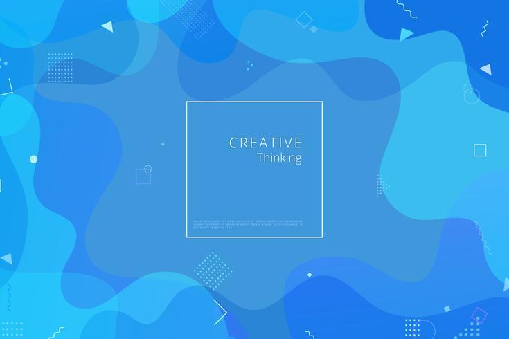 Blauer geometrischer Hintergrund. Flüssigkeit formt Zusammensetzung vektor
